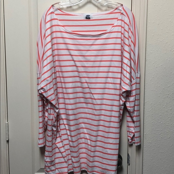 Old Navy Tops - Orange and white striped Tshirt